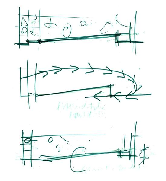 Renzo Piano, first sketches of the exhibition space